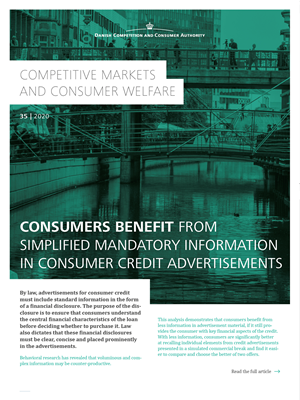Consumers benefit from simplified mandatory information in consumer credit advertisements
